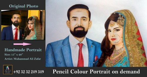 Colour Pencil Sketch Portrait on Demand